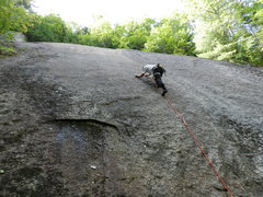 Rock Climbing Photo: Jonathan climbs past the crux on Elvis is in the H...