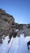 Rock Climbing Photo: Variation to pitch 2, not much ice here