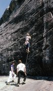 Rock Climbing Photo: Jeff Lauschey on end Monty Reagan & Whitney Heurma...