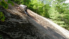 Rock Climbing Photo: heading over the bulge to the big holds up the fin...