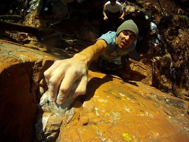 Rock Climbing Photo: Mike B sticking the dyno.