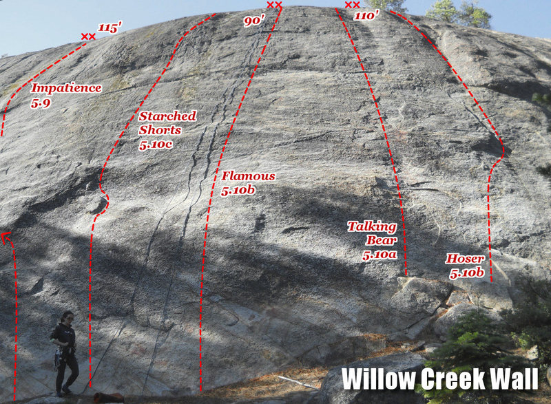 The center of Willow Creek Wall, where most of the routes are.<br> <br> Note that the top of this low-angle cliff is extremely foreshortened in this photo. There is also a weird fish-eye effect going on because I stitched two photos together to make the panorama.