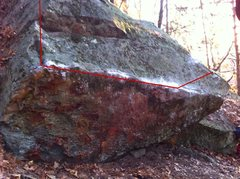 Rock Climbing Photo: Red Line shows the path of the problem