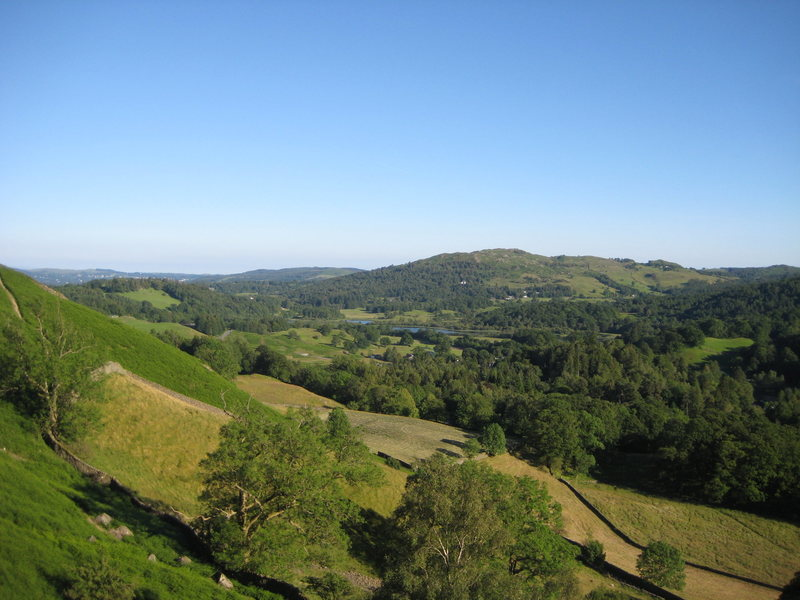 The outlook from the south end of the crag (photo by Phil Ashton)