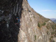 Rock Climbing Photo: Mary making the traverse to the comfy ledge on the...