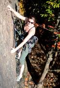Rock Climbing Photo: Liz just basking in the sun, fun route