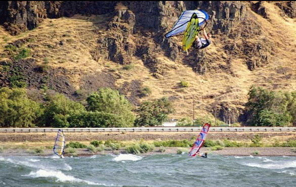 Dale Cook skying in The Columbia River Gorge
