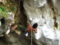 Rock Climbing Photo: Noh on Pickpocket, a very steep start.