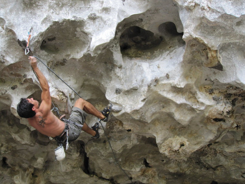 Rock Climbing Photo: Chien Lee, at the bottom of Bas Laici. He started ...