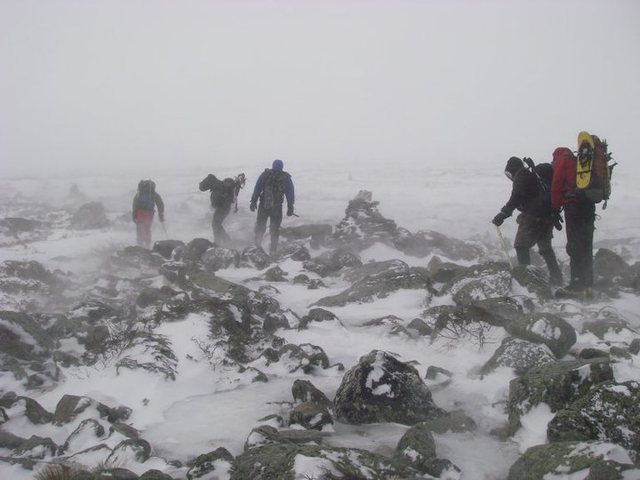 Rock Climbing Photo: Mt. Washington, NH.  -50 F at summit with 50-70 mp...