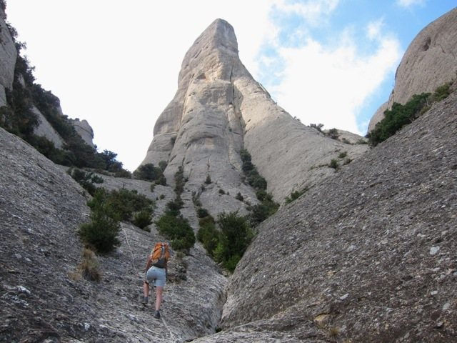 Climber's trail with fixed ropes below the east side of Cavall Bernat