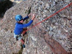 Rock Climbing Photo: Crux 2nd pitch traverse on Cavall Bernat's Via Nor...