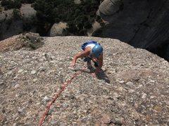 Rock Climbing Photo: Final slab pitch on Via Normal on Cavall Bernat
