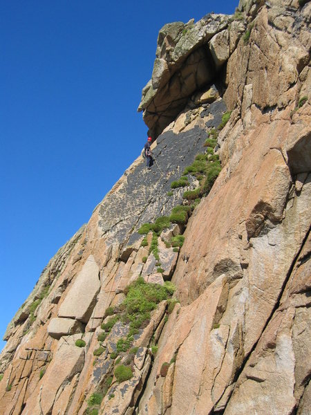 The spike, the black slab and the belay after P1 (photo by Phil Ashton)