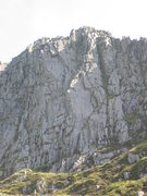 Rock Climbing Photo: The slab on P2 of Gwydrin is in the centre of the ...