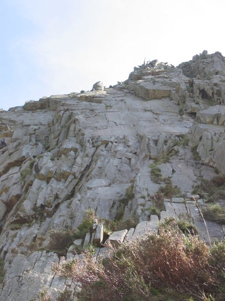 Rock Climbing Photo: Looking up to the fore-shortened slab at the start...