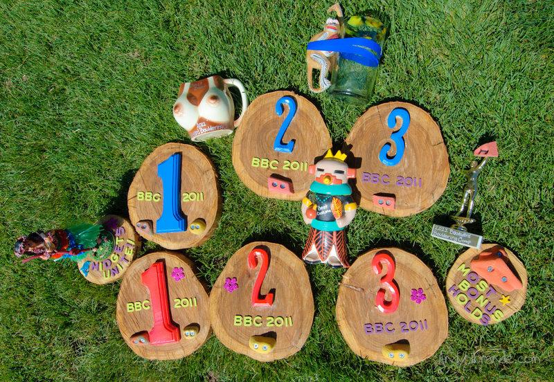 2011 Backyard Bouldering Comp Prizes. <br> <br> Men's/Women's 1st - 3rd. <br> Best Costume<br> Best Determination<br> Most Bonus Holds<br> Midget's Unite (best determination for female climber)<br> Best Beer<br> Drunken Monkey (chug a beer and flash a hard problem)<br>