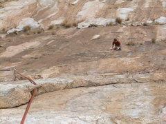 Rock Climbing Photo: Pitch 2.  Creepy even on 2nd.  Nice work Stu.