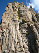 Rock Climbing Photo: Shows the route and our approximate 4th and 5th be...