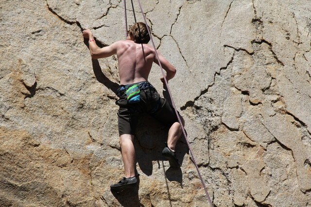 Rock Climbing Photo: Pulling the flake just past the roof move..