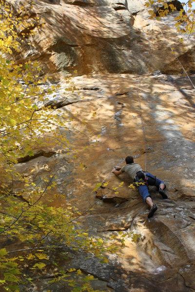 Rock Climbing Photo: Dustin Clelen on lower slab section.  The slab cru...
