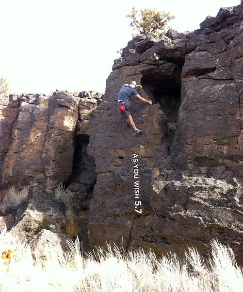 Toeing along fun little ledges while making use of the solid flake-like edge of the face. Enjoyable, mostly clean rock.