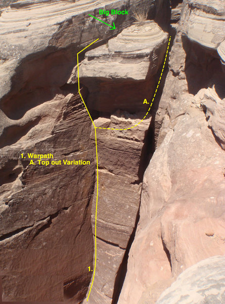 Rock Climbing Photo: A Beta photo taken from the top. Notice the big bl...