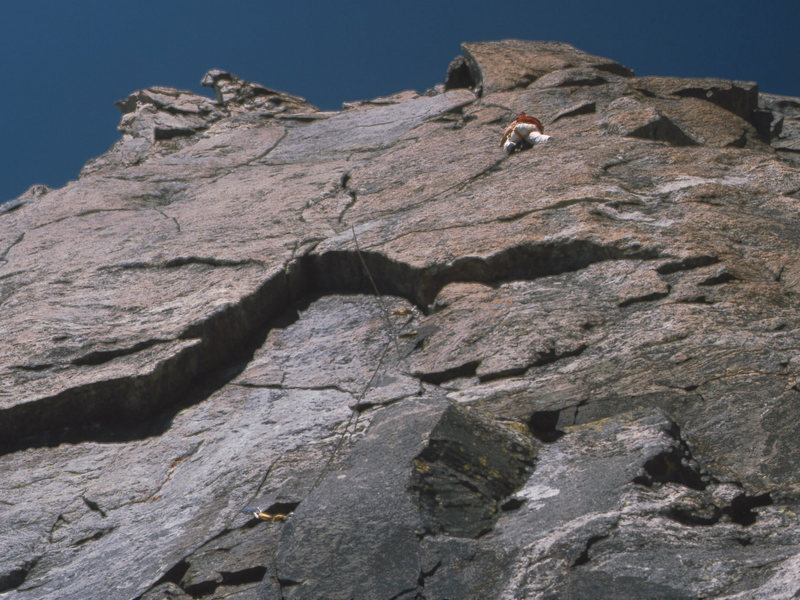 Somewhere on Tower One, Mt. Helen, Titcomb Basin, Wind River Range, August 1980