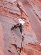 Rock Climbing Photo: Brennan Crellin on first ascent, moving through tw...