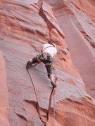 Rock Climbing Photo: Brennan Crellin on first ascent, moving through tw...