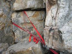 "Rock Climbing Photo: ""sling salad"" above P1 as of Nov. 2011"