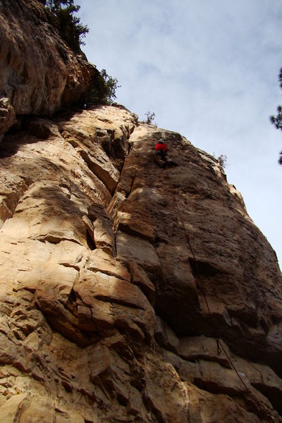 Albert's Arete, 5.10d<br> Big pockets. Big ledges. Big Reaches. An awesomely big, pumpy experience in Spearfish Canyon.