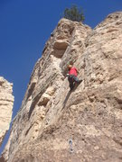 Rock Climbing Photo: Dave Wayne getting into the crux of Lamont's Perio...