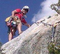 Rock Climbing Photo: Starting the 5.4 slab finish of Angel's Fright on ...
