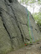 Rock Climbing Photo: Hidden Magic is marked in green, the vertical vari...