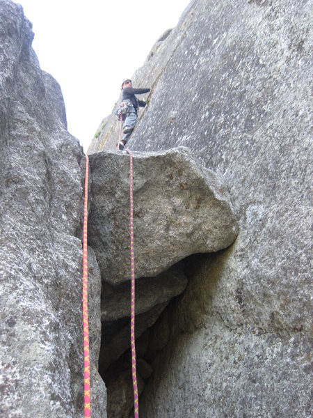 Beginning the traverse on pitch two.