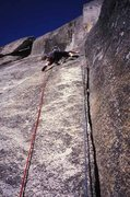 Rock Climbing Photo: From the belay looking up at the pitch three hand ...