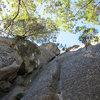 A look up the loggerhead ledge route  .