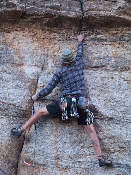 Rock Climbing Photo: Derek cruising the crux on his on site.