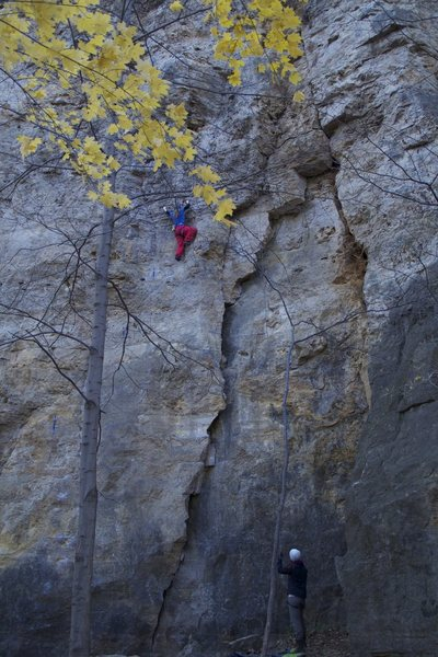 Ruth Grenke rocking bright colors on her assent of this amazing route!