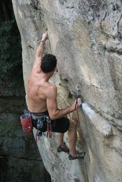 Rock Climbing Photo: pulling the third and final crux of Ly'n and steal...
