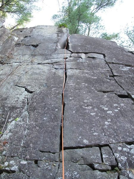 The route follows the rope.