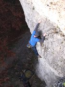 Rock Climbing Photo: Stefan Nitsch out of the business on Laufer Weg.