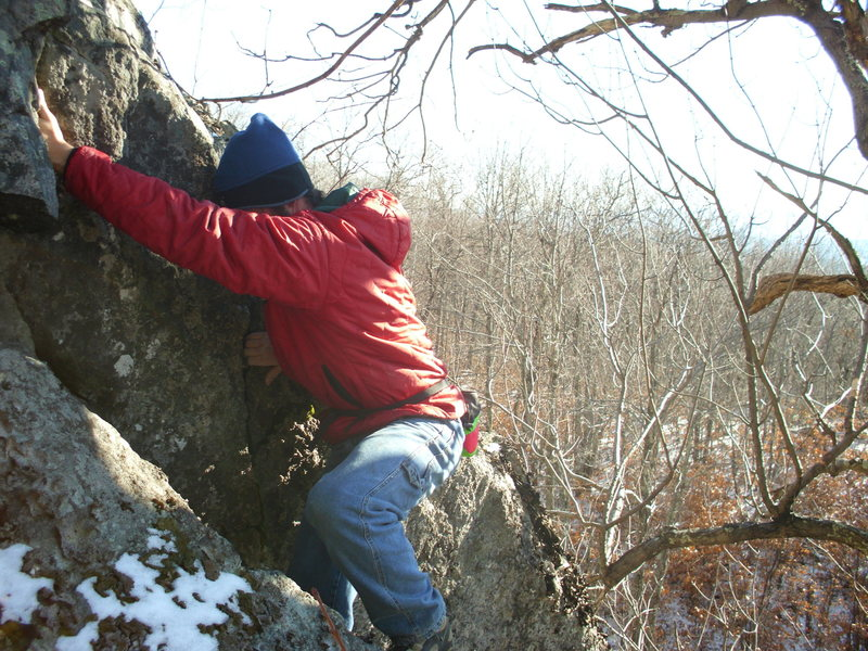 Rock Climbing Photo: Pulling out of the slot
