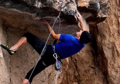 Rock Climbing Photo: Pulling into the crux roof.