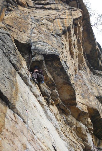 Rock Climbing Photo: Figuring out there was a huge rest right infornt o...