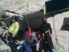 Rock Climbing Photo: After a cold night on the ledge