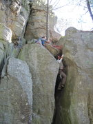 Rock Climbing Photo: Sasquatch topping out Whitney's Chimney.