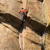 Yours truly, mid crux on my redpoint of this fantastic route.
