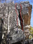 Rock Climbing Photo: Psychadelic is the left route.  Right one is Dorsa...
